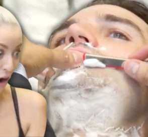 Trying a Straight Razor Shave Ear Hair Removal at the Barber Beauty Trippin