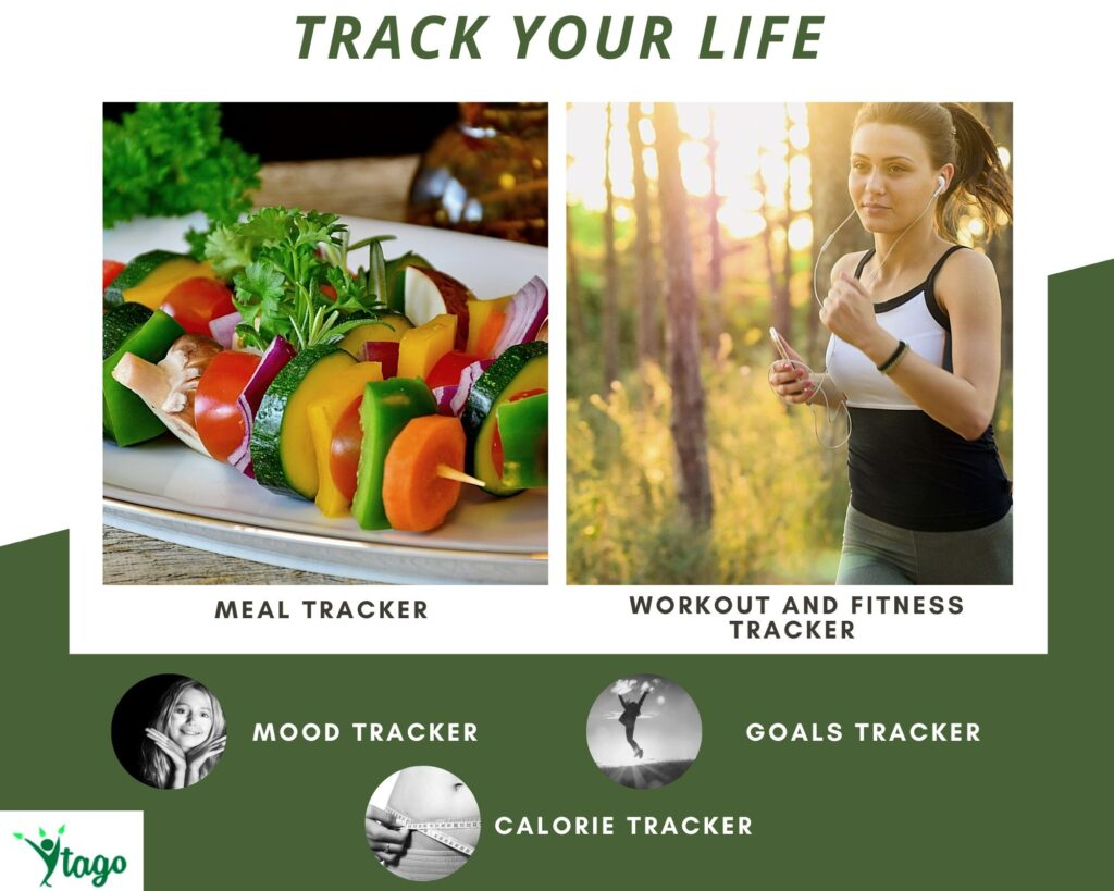 A lifestyle journal can contain mood, goals, workout, and meals for tracking
